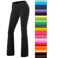 Women Foldover YOGA Pants Cotton Fitness Workout Comfy Long Wide Leg Trouser F78