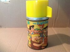 1964 The Flintstones Metal Thermos for Lunch Box ALADDIN Very Nice Rare Vintage