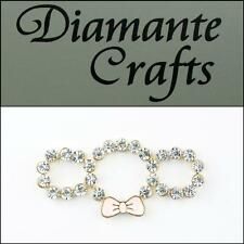 3D Ring Triple with Pink Bow Gold Alloy Encrusted  Clear Diamantes Kawaii 2013R
