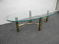 Italian Mid Century Hollywood Regency Oval Glass-Top Coffee Table 3175
