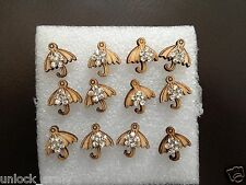 The Umbrella Swarovski Crystal Bling Handmade Stud Earrings Brown 6 Pairs A41