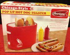NIB Americana Retro 4-Slot Pop-Up Chicago Style Hot Dog Bun Toaster #ECT-304 YUM