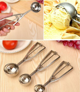 3 Size Stainless Steel Ice Cream Scoop Spoon Spring Handle Masher Cookie Scoop