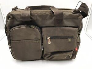 Fisher Price Messenger Diaper Bag - FastFinder Pocket System - Brown & Green EUC