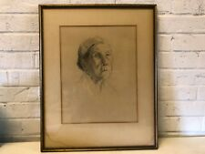 "Antique Ruth Harris Bohan ""Peter's Mother"" 1925 Charcoal on Paper Framed"