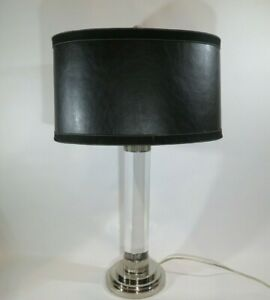 FREDERICK COOPER CRYSTAL / LUCITE   CHROMED METAL BASE & ACCENTS WITH SHADE