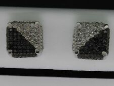 Black Diamond Square Earrings Mens 10K White Gold Round Pave 3D Studs 0.60 Tcw.