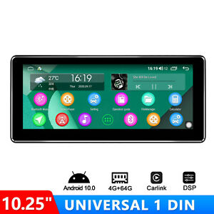 """10.25"""" Single Din Android Auto Universal Head Unit 4GB+64GB With Optical Output"""
