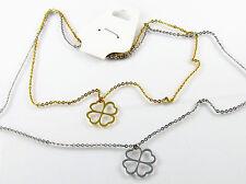 Collier Edelstahl Doppelkette Zweifarbig Kleeblatt Anhänger Goldene Halskette