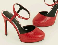 NEW LOOK size 6 RED PLATFORM HEELS ankle strap CROC PRINT party court shoe