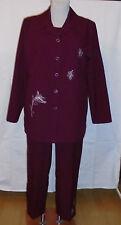 3 teiligen Damenhosenanzug Jacke,Top und 3/4 lange Hose Gr.40 weinrot  Nr.4499