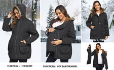 Black Maacie Womens Maternity 3 in 1 Thickened Outwear Fleece Lined Coat Jacket
