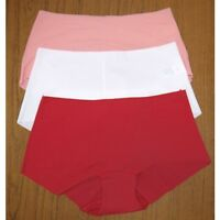 EX MARKS & SPENCER LASER CUT SLINKY SHORTS BRIEFS PINK WHITE RED  SIZE 8-18