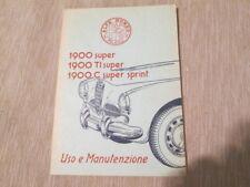 Libretto di uso e manutenzione Alfa Romeo 1900 anno 1954-1956