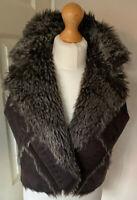 Kosha Faux Suede & Fur Trim Gillet Uk 14 Browns Super Soft