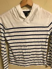 Polo Ralph Lauren Girls White Navy Stripe Long Sl Modal Hoodie Shirt SZ L(12-14)