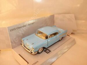 "1955 Chevrolet Bel Air Light Blue DieCast Metal Model Car 5"" New In Box"