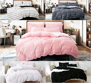 Reversible Teddy Fleece Stripe Duvet Cover Set Fluffy Warm Cosy Bedding Sets