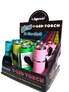 9 LED Torch - Glo In The dark Body- 3xAAA Batteries - UK Stock