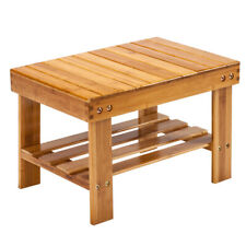 Shower Stool Wood Bathroom Bench Seat Bamboo Spa Bath Chair w/ Storage Shelf