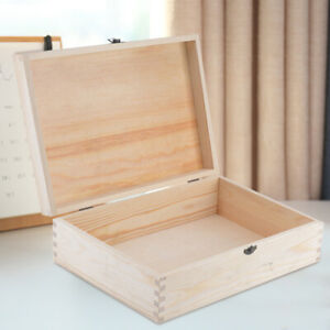 A4 Wooden Document Box Case Hinged Lid Untreated Natural Wood Magazine Storage
