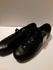 TredSafe Black Leather Slip Resistant Work Shoes Size mens 13 womens 15 Lace Up