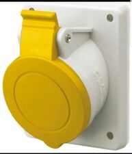 RS Pro 32A Yellow 2P+E Pole Plastic Industrial Socket, 100 - 130V, IP44