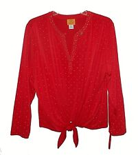 New Blouse, Ruby Rd. Petite, Gold-Studs Stretch Ties-at-Waist Red PXL