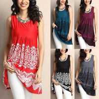 Fashion Women Summer Sleeveless O- Neck Printed Tops Boho Loose T-Shirt Blouse