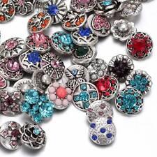 20pcs/lot Metal Rhinestone 12mm Chunk Snap Button Charms Fit Snaps Jewelry HM008