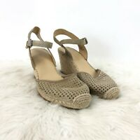 Franco Sarto 9 M Womens Taupe Perforated Suede Merona 2 Espadrille Wedges