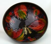 Stunning Moorcroft Flambe Bowl Leaf and Berry Design 1940's. Made in England!