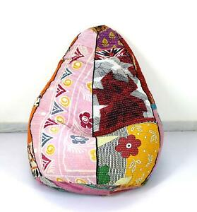 Vintage Handmade Cotton Floral Kantha Bohemian Armchair Embroidered Bean Bag