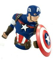 """Captain America Super Hero 6""""H x 8""""W x 5""""w Busted Bank Molded Coin Piggy Bank"""