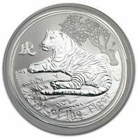 2010 YEAR OF THE TIGER 1oz SILVER LUNAR ISSUE Coin in Capsule