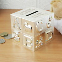 Personalised Engraved Silver Plated ABC Money Box Birthday baby Christening Gift