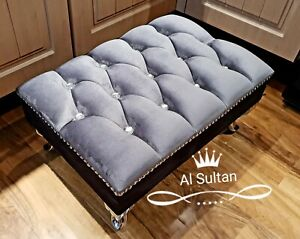 Large Grey Plush Velvet Pouffe Footstool With Chrome Queen Anne Design Feet