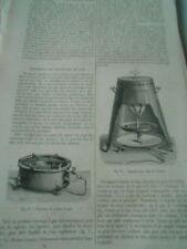 Appareils de Chauffage au Gaz 1872 Gravure Old Print