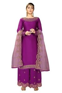 Indian Pakistani Satin Georgette Semi Stitched Embroidered Salwar Suit Palazzo