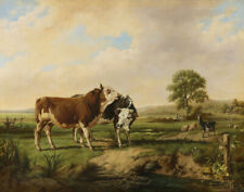 Brascassat Raymond Jacques Bulls Sheep And A Goat On A Pasture Canvas   #4207