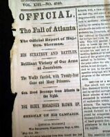 THE FALL OF ATLANTA Georgia William T. Sherman Enters 1864 Civil War Newspaper