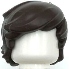 Lego New Dark Brown Minifigure Hair Short Tousled 2 Locks on Left Side Part