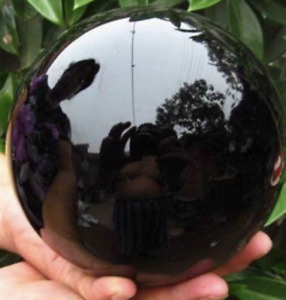100MM Natural Black Obsidian Sphere Large Crystal Ball Healing Stone AA