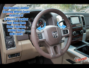 Fits 2009-2012 Dodge Ram 1500 2500 3500-Leather Steering Wheel Cover, Dark Brown