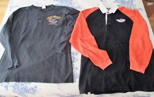 2- HARLEY DAVIDSON LONG SLEEVE HEAVY SHIRTS. COLLARED & HENLEY TYPE. SIZE L.