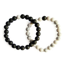 2pcs Round Lava Bead Distance Couple Bracelet Beads with Elastic Cord YinYang