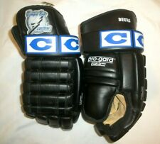 Tampa Bay Lightning Ccm Bob Beers Leather Gloves Vintage Black Made In Canada