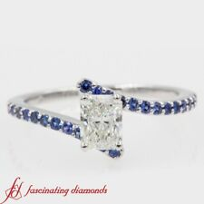 3/4 Carat Radiant Diamond And Sapphire Gemstone Delicate Bypass Engagement Ring