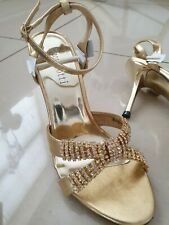 Size 5 gorgeous Gold Diamante Sandals BNIB with ankle strap