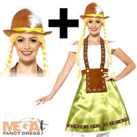 Bavarian Beer Maid +Hat Ladies Fancy Dress Oktoberfest Adults Ladies Costume New